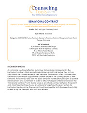 Behavioral Contract: Elementary School