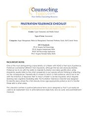 Frustration Tolerance Checklist